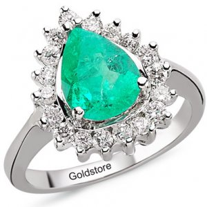 0.46ct. Diamond 1.35ct. Emerald 18K Solid Gold Modern Design Ring