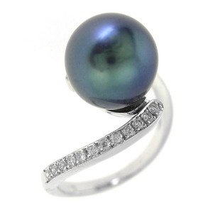 0.25ct. Diamond 18K Solid Gold Modern Design Pearl Ring