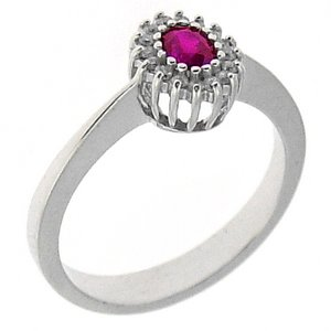 0.08ct. Diamond 0.20ct. Ruby 18K Solid Gold Halo Ring