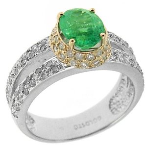 0.81ct. Diamond 1.02ct. Emerald 18K Solid Gold Modern Design Ring