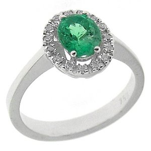 0.14ct. Diamond 0.90ct. Emerald 18K Solid Gold Halo Ring