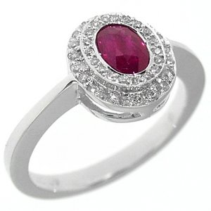 0.25ct. Diamond 0.74ct. Ruby 18K Solid Gold Modern Design Ring