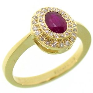0.25ct. Diamond 0.70ct. Ruby 18K Solid Gold Halo Ring