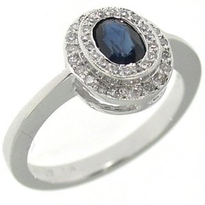 0.25ct. Diamond 0.75ct. Sapphire 18K Solid Gold Modern Design Ring