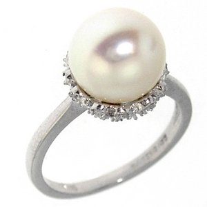 0.24ct. Diamond 18K Solid Gold Pearl Ring