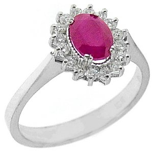 0.21ct. Diamond 0.88ct. Ruby 18K Solid Gold Halo Ring