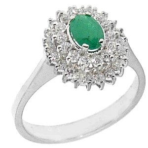 0.35ct. Diamond 0.38ct. Emerald 18K Solid Gold Halo Ring