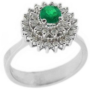 0.33ct. Diamond 0.29ct. Emerald 18K Solid Gold Halo Ring