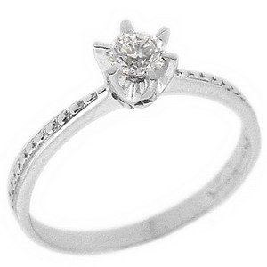 0.21ct. Diamond 18K Solid Gold Solitaire Ring