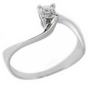 0.19ct. Diamond 18K Solid Gold Solitaire S Type Ring