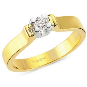 0.19ct. Diamond 18K Solid Gold Solitaire Classic Ring
