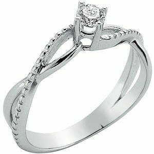0.19ct. Diamond 14K Solid Gold Solitaire S Type Ring