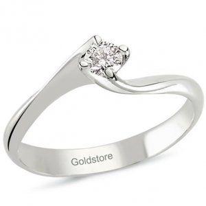 0.15ct. Diamond 14K Solid Gold Solitaire S Type Ring