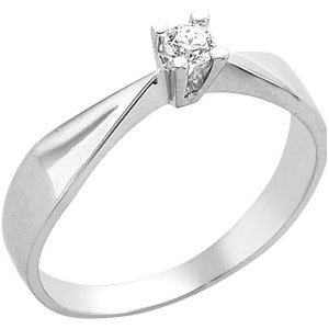 0.1ct. Diamond 14K Solid Gold Solitaire Classic Ring