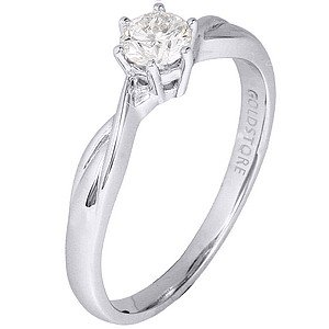 0.34ct. Diamond 18K Solid Gold Solitaire Ring