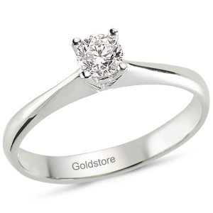 0.26ct. Diamond 18K Solid Gold Solitaire Classic Ring