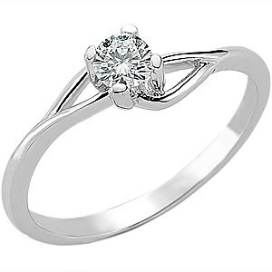 0.2ct. Diamond 14K Solid Gold Solitaire S Type Ring