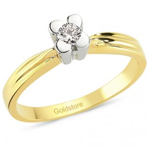 0.11ct. Diamond 18K Solid Gold Solitaire Flower Ring