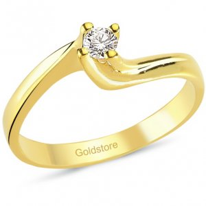 0.1ct. Diamond 18K Solid Gold Solitaire S Type Ring