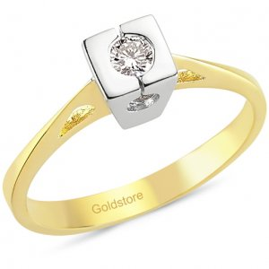 0.12ct. Diamond 18K Solid Gold Solitaire Ring