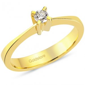0.12ct. Diamond 18K Solid Gold Solitaire Classic Ring
