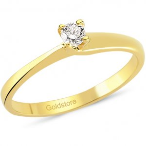 0.11ct. Diamond 18K Solid Gold Solitaire Ring