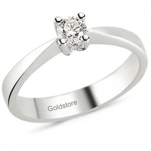 0.21ct. Diamond 18K Solid Gold Solitaire Classic Ring