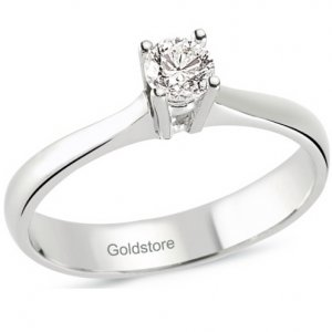 0.19ct. Diamond 14K Solid Gold Solitaire Classic Ring