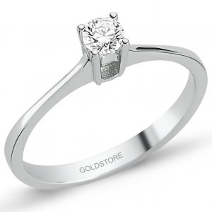 0.18ct. Diamond 18K Solid Gold Solitaire Ring
