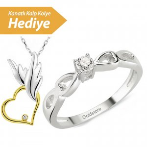 0.06ct. Diamond 8K Solid Gold Solitaire Heart Ring