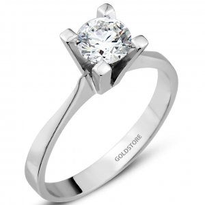 0.58ct. Diamond 18K Solid Gold Solitaire Classic Ring