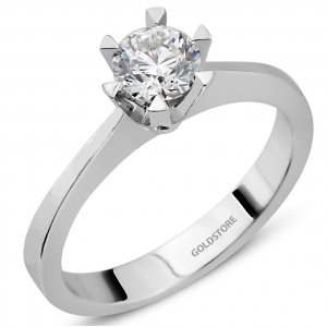 0.45ct. Diamond 18K Solid Gold Solitaire Classic Ring