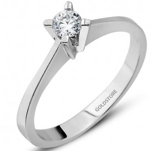 0.2ct. Diamond 18K Solid Gold Solitaire Classic Ring
