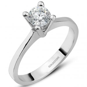 0.4ct. Diamond 18K Solid Gold Solitaire Classic Ring