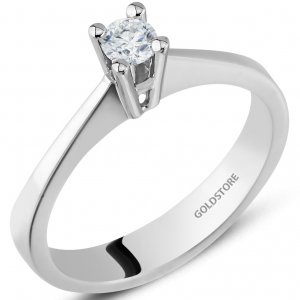0.18ct. Diamond 18K Solid Gold Solitaire Classic Ring