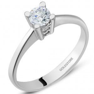 0.32ct. Diamond 18K Solid Gold Solitaire Classic Ring
