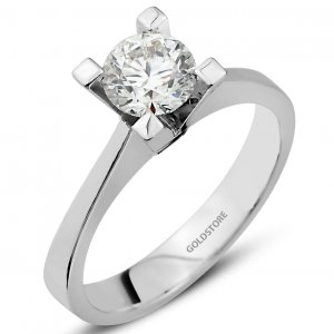 0.81ct. Diamond 18K Solid Gold Solitaire Classic Ring