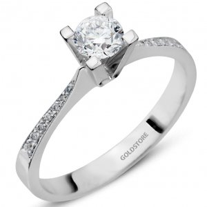 0.43ct. Diamond 18K Solid Gold Solitaire Sidestones Ring