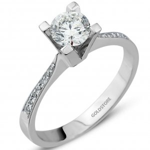 0.53ct. Diamond 18K Solid Gold Solitaire Sidestones Ring