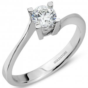 0.5ct. Diamond 18K Solid Gold Solitaire S Type Ring