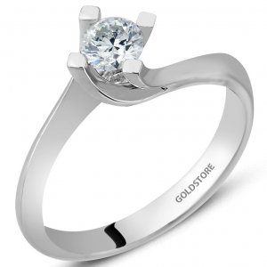 0.37ct. Diamond 18K Solid Gold Solitaire S Type Ring
