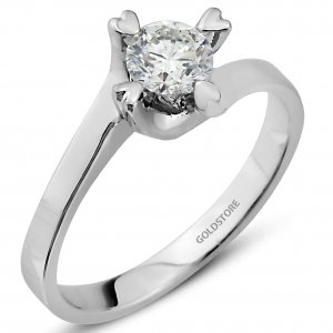 0.5ct. Diamond 18K Solid Gold Solitaire Heart S Type Ring