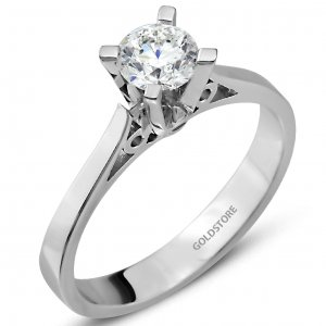 0.64ct. Diamond 18K Solid Gold Solitaire Classic Ring