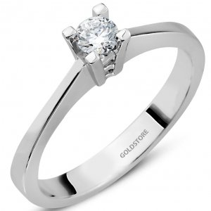 0.2ct. Diamond 14K Solid Gold Solitaire Classic Ring