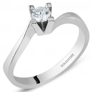 0.18ct. Diamond 8K Solid Gold Solitaire S Type Ring