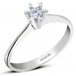 0.09ct. Diamond 8K Solid Gold Solitaire Classic Ring