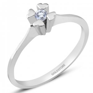 0.07ct. Diamond 8K Solid Gold Solitaire Heart Ring