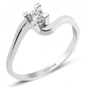0.13ct. Diamond 8K Solid Gold Solitaire S Type Ring