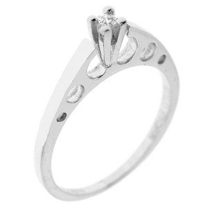 0.05ct. Diamond 14K Solid Gold Solitaire Ring
