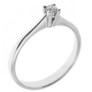 0.07ct. Diamond 14K Solid Gold Solitaire Classic Ring